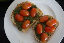 cherry tomato pesto toast