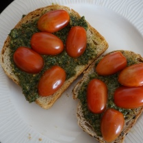 cherry tomato pesto toast