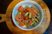 penne pesto smoked salmon
